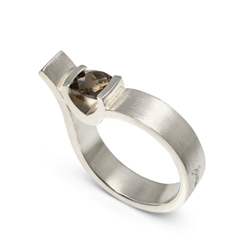 Boldly Smokey Quartz ring in silver for the modern woman