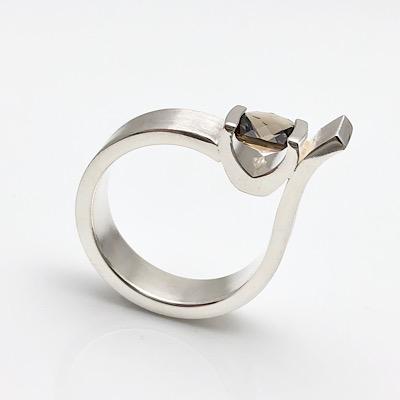 Boldly neutral Smokey Quartz silver ring