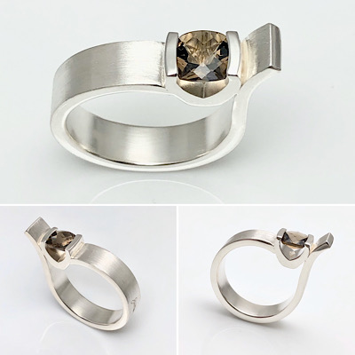 Boldly neutral all in one ring, sterling silver and smokey quartz