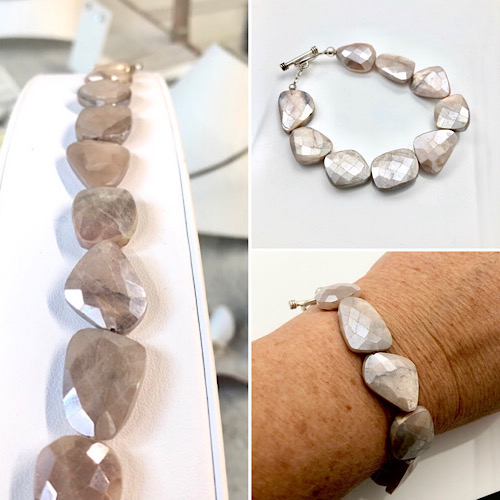 Bracelet sparkle in soft pink mystic moonstone