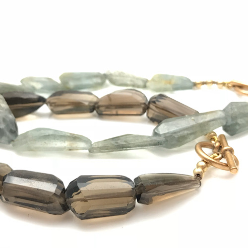 Gemstones at its finest, Smokey Quartz and moss aqua