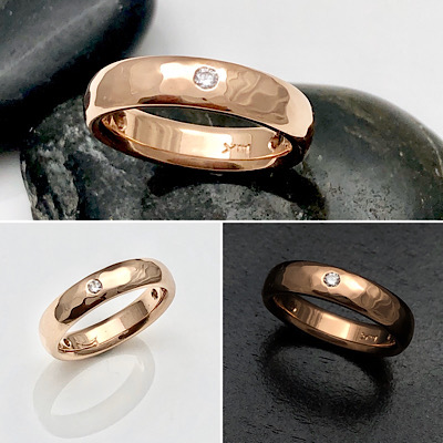 Hammered rose gold diamond band