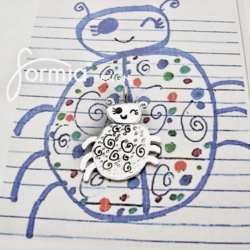 Ladybug artwork as jewelry, spring awakes tiny bugs