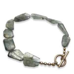 Moss Aquamarine bracelet bronze clasp