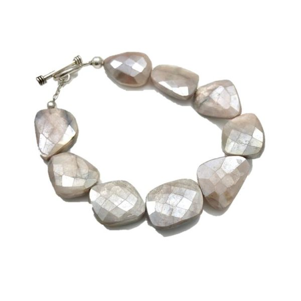 Mystic moonstone bracelet flat faceted beads