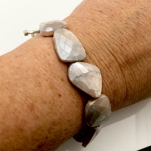 Mystic moonstone bracelet soft pink faceted gemstones