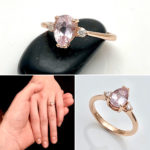 Pale Pink sapphire with diamonds for engagement ring