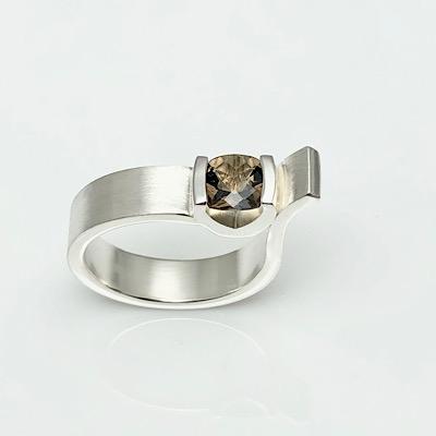 Ring with Smokey Quartz in bold asymmetrical handmade design