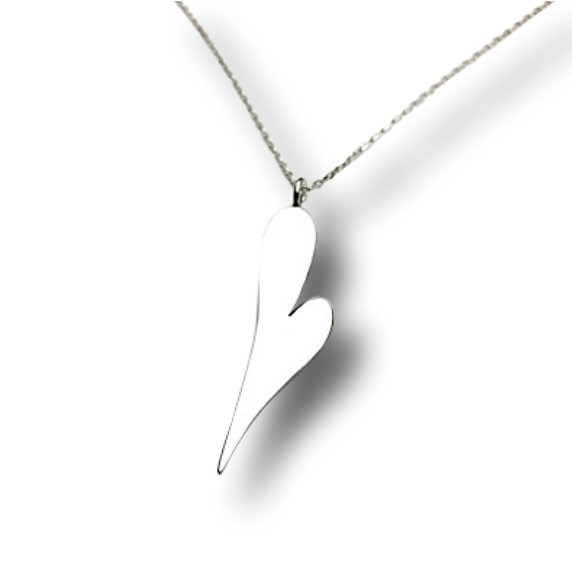 Simple heart Necklace, slender heart design on a chain