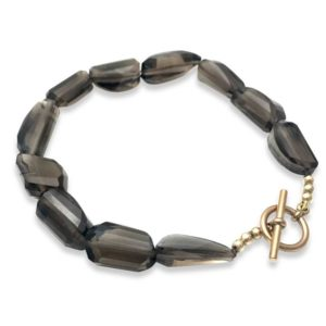 Smokey Quartz bracelet bronze clasp