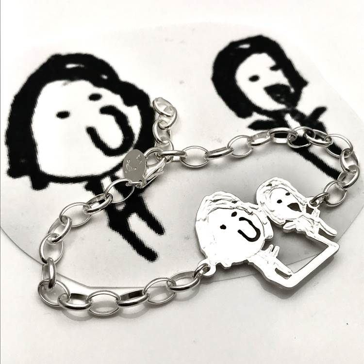 Mom and me portrait on a sports bracelet
