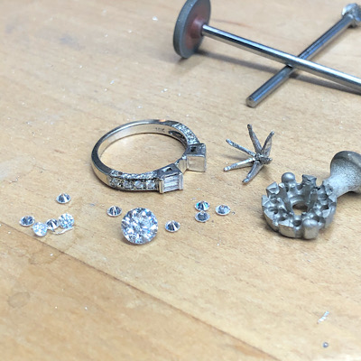 Redesigned parts of old ring turns into an astounding engagement ring