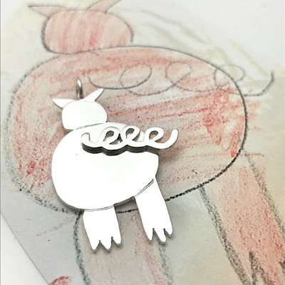 This little piggy jewelry, double layer silver pendant