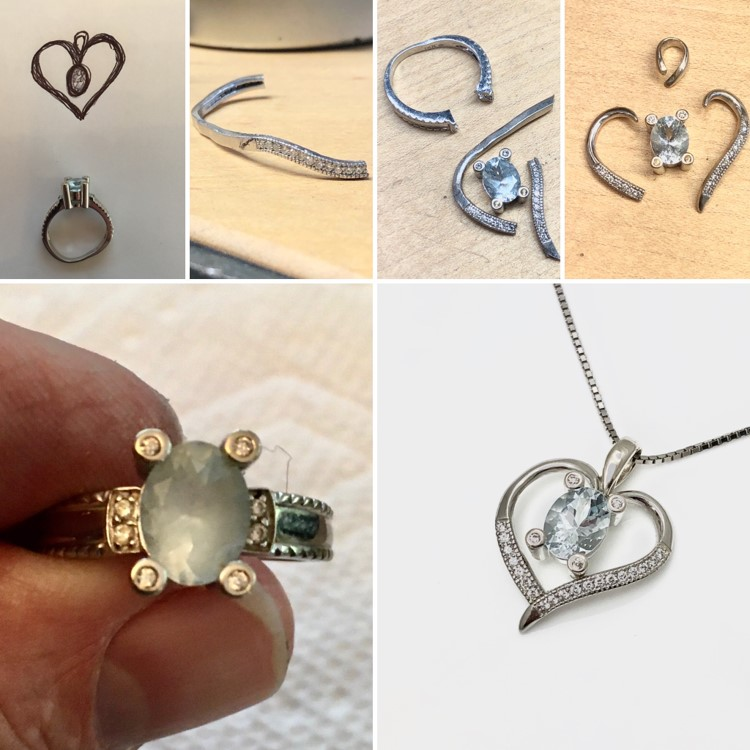 Amazing transformation from wedding rings to a heart shaped pendant for graduation necklace