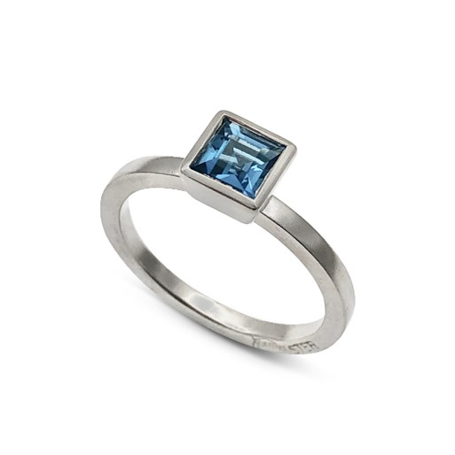 Blue Topaz Square stack ring for the deep blue color lover