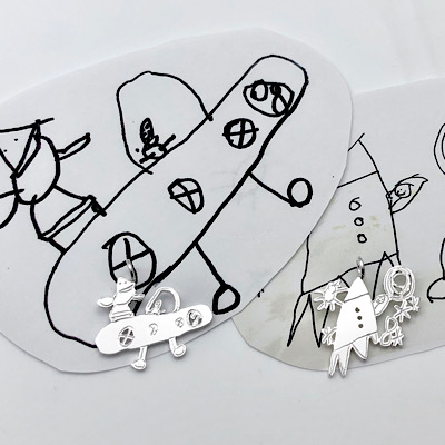 Charms from girls and boys drawings