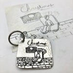 Creations never disappoints, engraved drawing on silver keychain