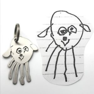 Dog drawing as a titanium key chain, kids pet portraits