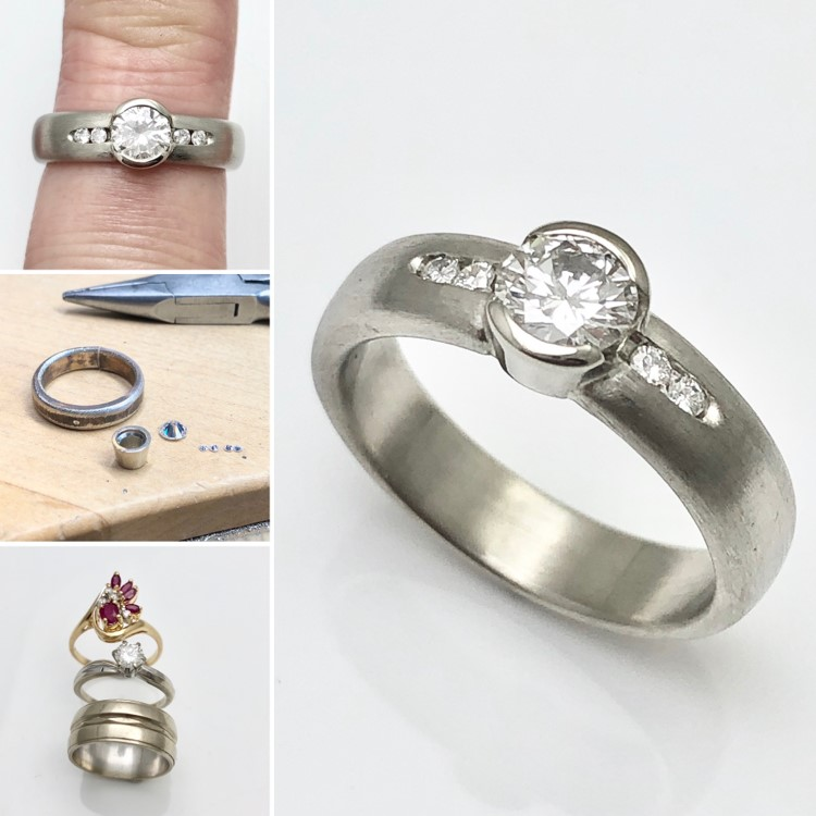 Family rings redesigned to a modern diamond ring for graduation gift