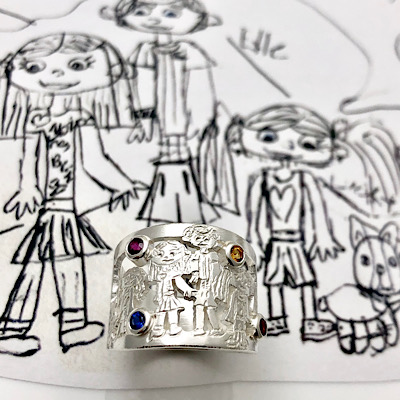 Kids family drawing wrapping around finger on a ring
