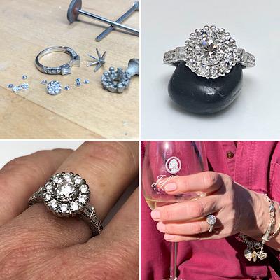 Mesmerizing ring diamond halo engagement