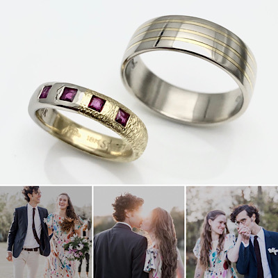 Handmade wedding band texture, a small colorful beautiful little pandemic civil ceremony