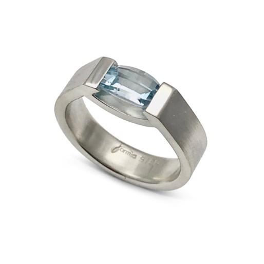 Sky blue topaz smile ring, barrel cut gemstone in handmade sterling silver ring