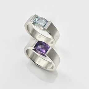 Smile rings with amethyst checker board cut and barrel cut sky blue topaz