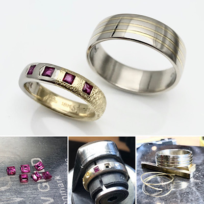 Textures, mix of gold and reused rubies enhances these wedding bands
