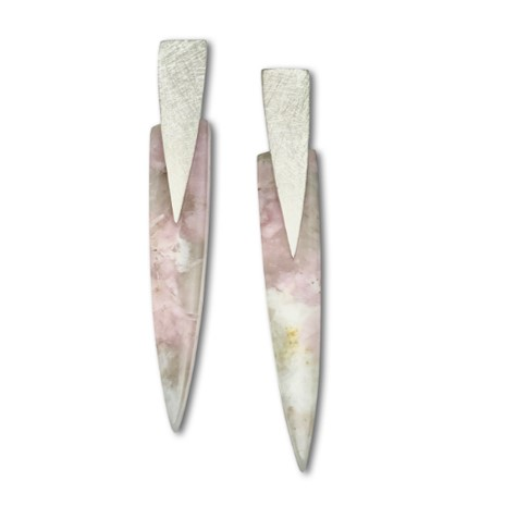 Tourmaline Quartz Pendulum Earrings with frosty texture silver tops, pink color earrings
