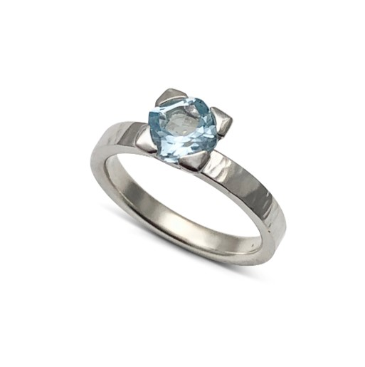 Angled Aquamarine stack ring with hammered textured band