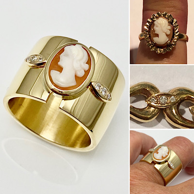 Cameo gold ring redesigned in 18k yellow gold with diamond accent pieces