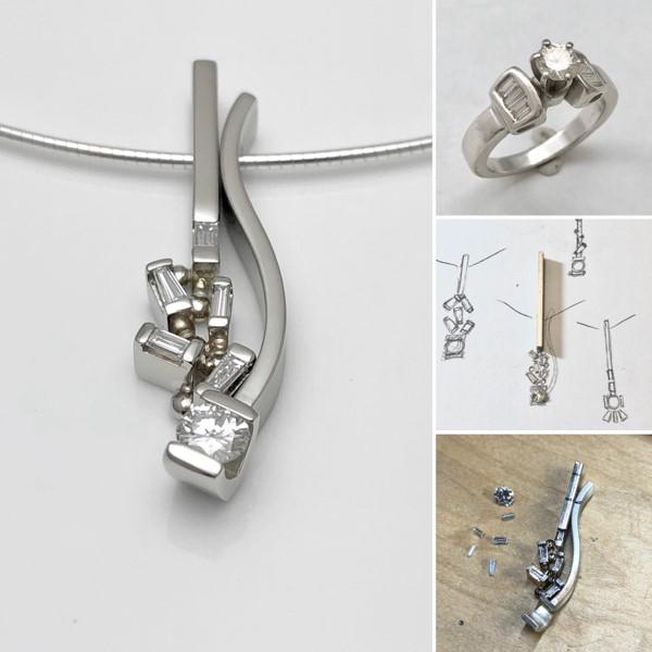 Redesign baguette diamonds for combination pendant