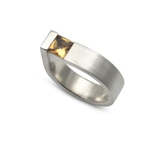 Square edge ring yellow topaz, perfectly handmade for you