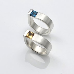 Square edge rings made to order in many different gemstones