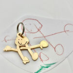 Child's portrait of mom created as a keychain in solid Bronze! Personalized gifts for any parent!