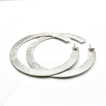 Flat earring as large hoops, handmade earrings