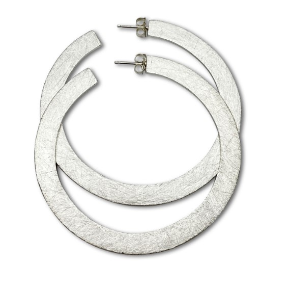 Flat hoop earrings sterling silver frosty texture for unique fashion look