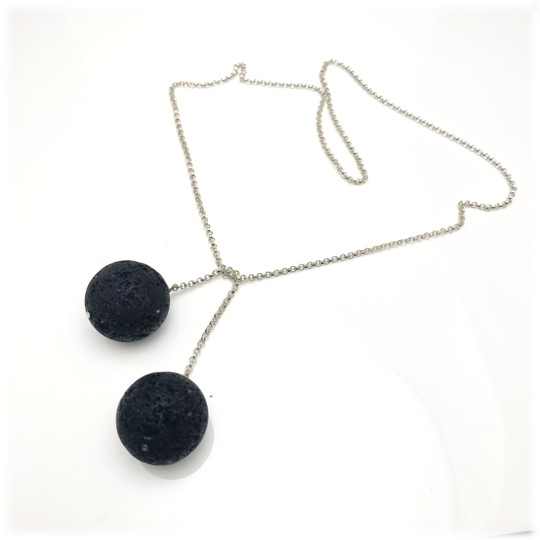 Black tie chain necklace using large lava rock beads