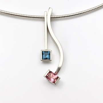 Blue and pink all in one necklace but can be worn separate
