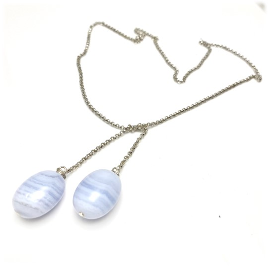 Blue lace agate tie chain necklace in silver and clever design