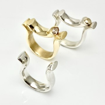 Bridged ring collection, ghandmade solid silver and gold rings