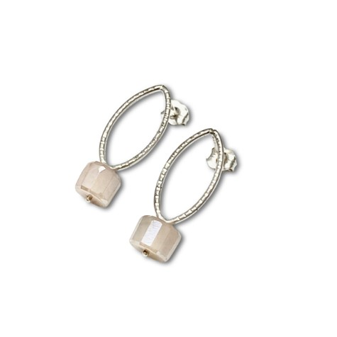 Contessa Pink Earring, facetted Hexagon Mystic Moonstone