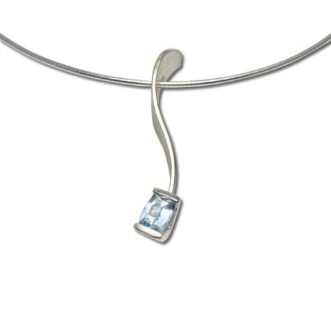 Cushion Aquamarine delicate pendant, sleek and simple in light blue gemstone