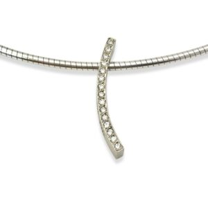 Diamond curve pendant small, bead set small diamonds to add sparkle