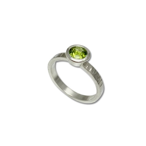 Green Peridot stack ring for the lover of strong color