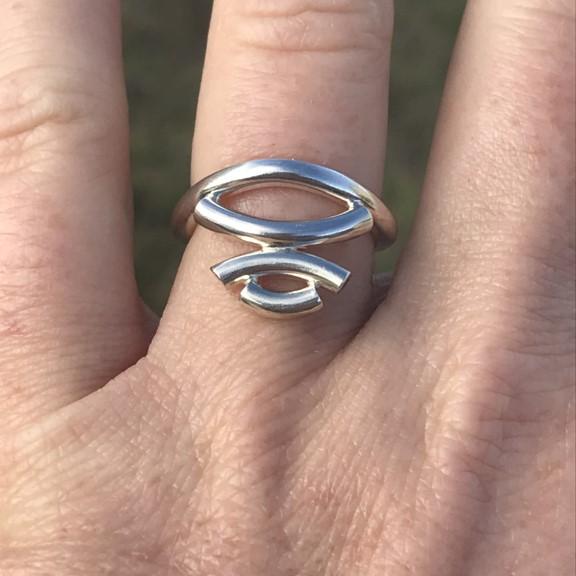 Kurvene stacked simplicity ring shown on finger