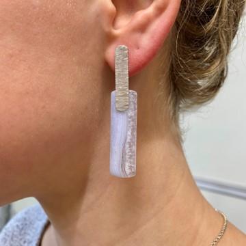 Lace agate stone in pendulum pendant earrings