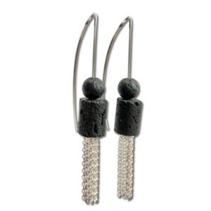 Lava Rock tassel Earring, dangle earrings with black Volcanic rock stone