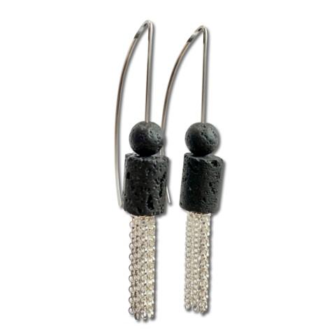 Lava Rock tassel Earring, dangle earrings with black Volcanic rock stone